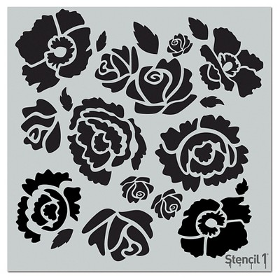 "Stencil1 Bouquet Repeating - Wall Stencil 11"" x 11"""