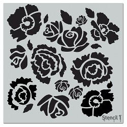 "Stencil1 Bouquet Repeating - Wall Stencil 11"" x 11"""
