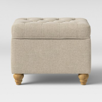 Frankford Tufted Storage Ottoman Cream with Natural Legs - Threshold™