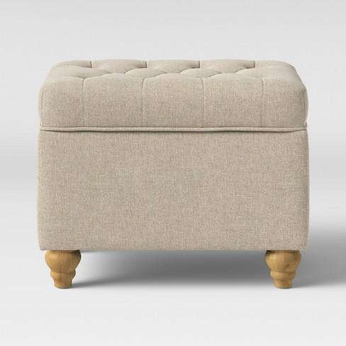 Frankford Tufted Storage Ottoman Cream With Natural Legs Threshold Target