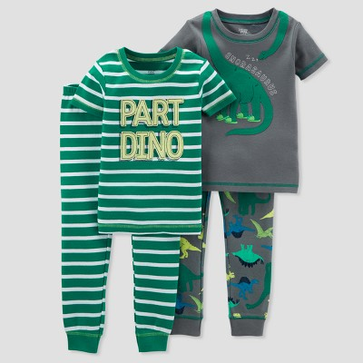 Baby Boys' 4pc Cotton Dino Pajama Set - Just One You® made by carter's Green 9M