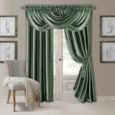 Versailles Faux Silk Room Darkening Window Curtain Panel - Elrene Home Fashions - image 1 of 4