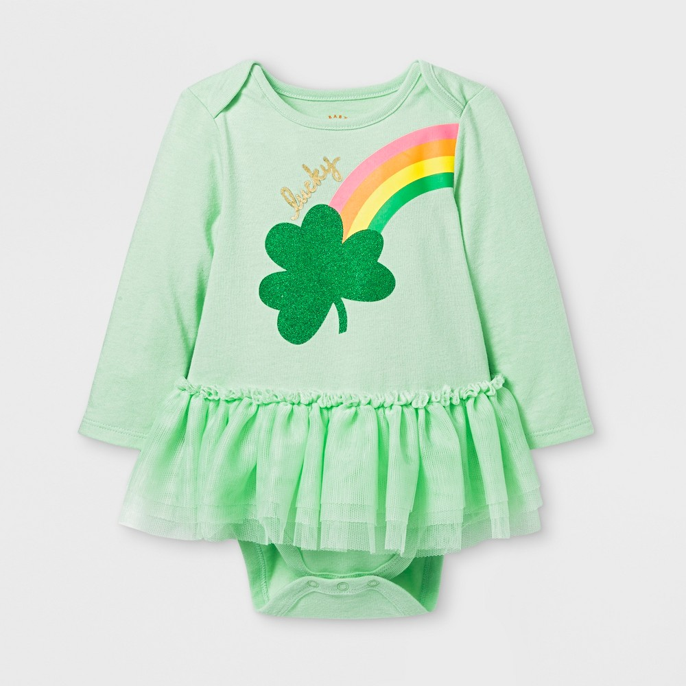 Baby Girls' St. Patty's Long Sleeve Tutu Bodysuit - Cat & Jack Green 24M