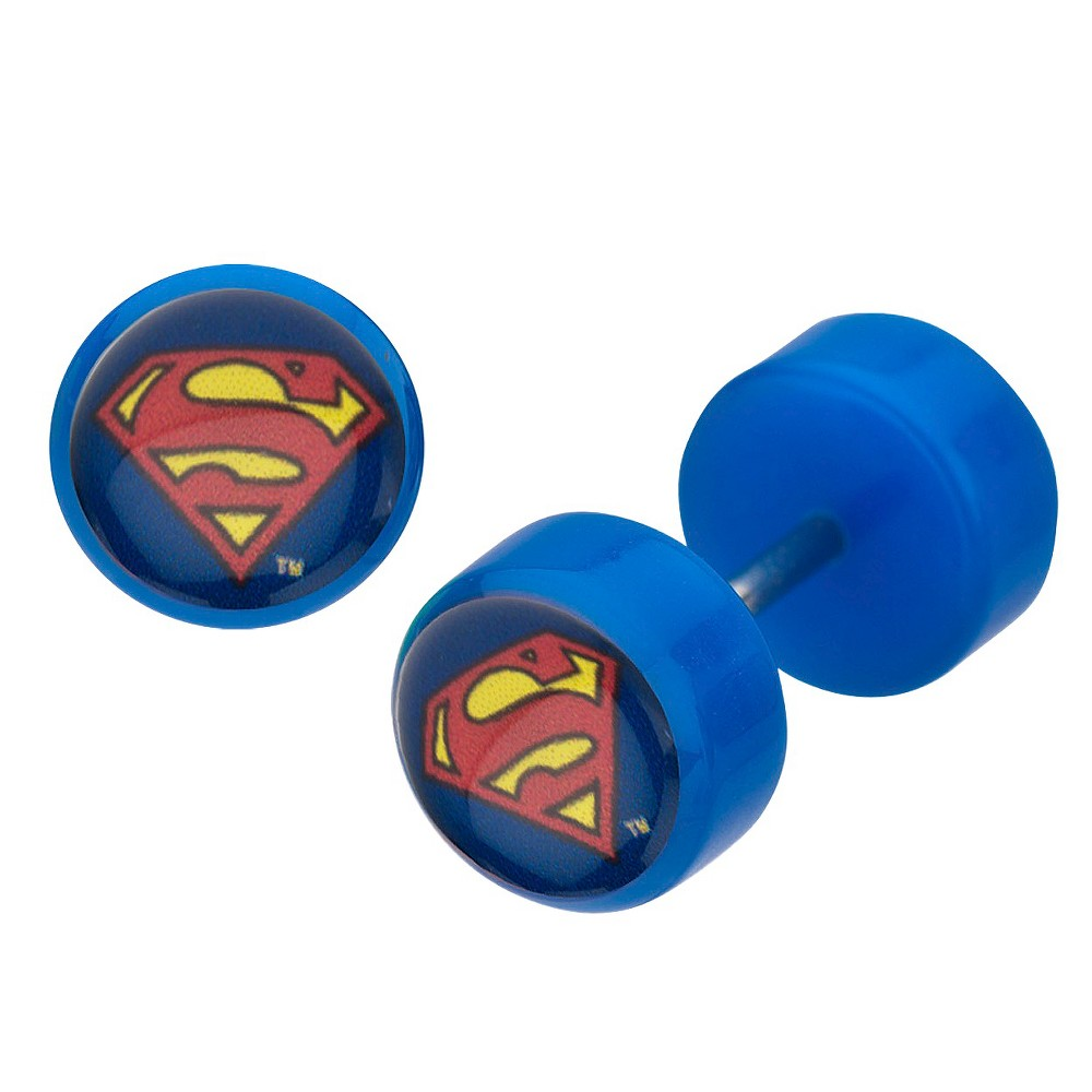 Women's DC Comics Superman Logo Acrylic and Stainless Steel Screw Back Earrings - Blue
