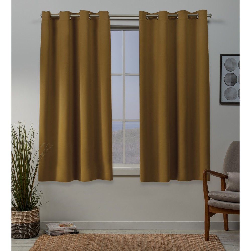 52x108 Sateen Woven Blackout Grommet Top Window Curtain Panel Pair Honey Gold - Exclusive Home