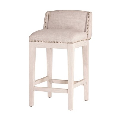 """Set of 2 26"""" Bronn Non Swivel Counter Height Barstools White /Silver - Hillsdale Furniture"""