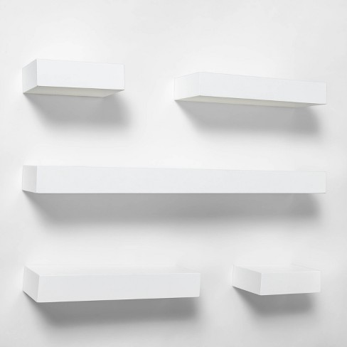 5pc Modern Wall Shelf Set White