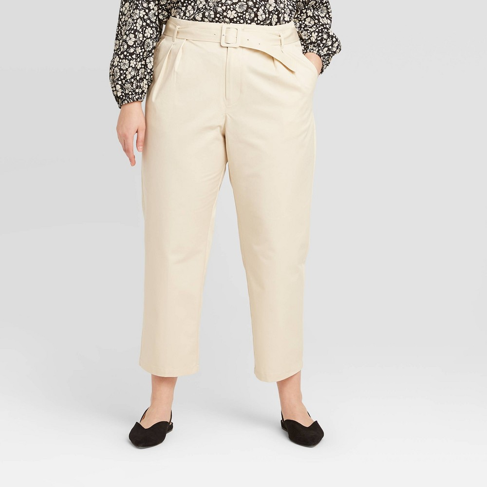 Women's Plus Size Mid-Rise Pleat Front Straight Cropped Trouser - Who What Wear Cream 20W, Women's, Beige was $34.99 now $17.49 (50.0% off)