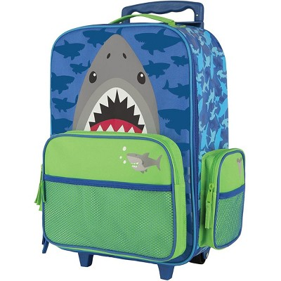 Stephen Joseph Fun Kids Themed Classic Rolling Luggage Polyester Carry On Suitcase with Multiple Pockets and Extendable Handle, Shark