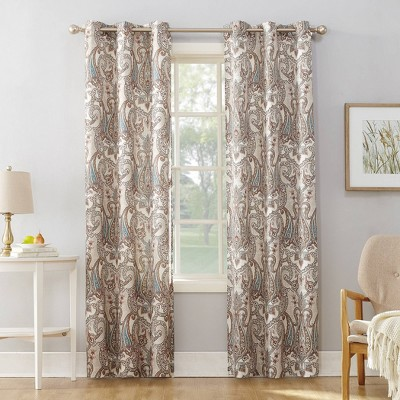 Nori Damask Print Light Filtering Grommet Top Curtain Panel - No. 918