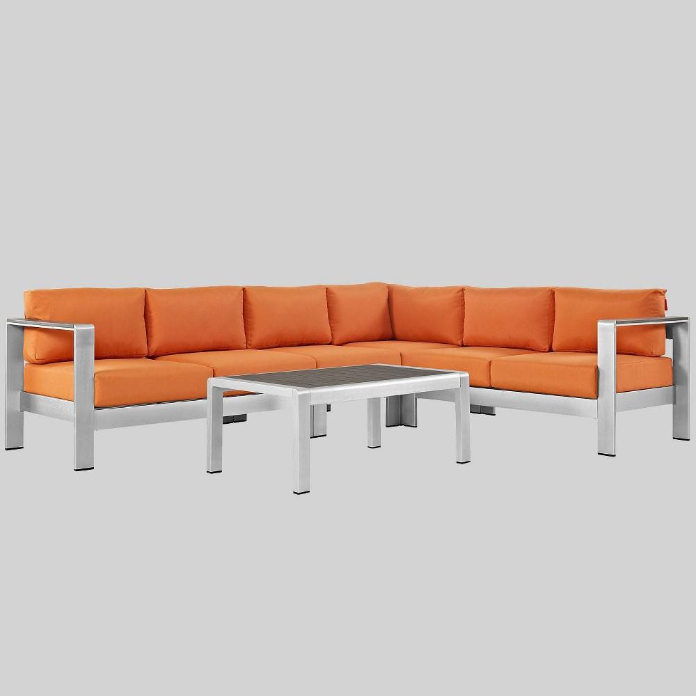 Shore 5pc Outdoor Patio Aluminum Sectional Sofa Set Orange Modway