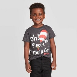 Toddler Boys' Dr. Seuss Oh The Places You'll Go T-Shirt - Charcoal