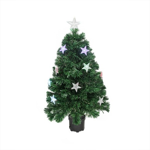 Northlight 4 Prelit Artificial Christmas Tree Led Fiber Optic With Color Changing Stars