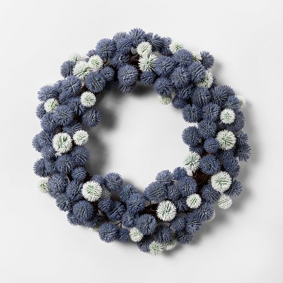 18  Artificial Thistle Wreath Blue/White - Threshold™