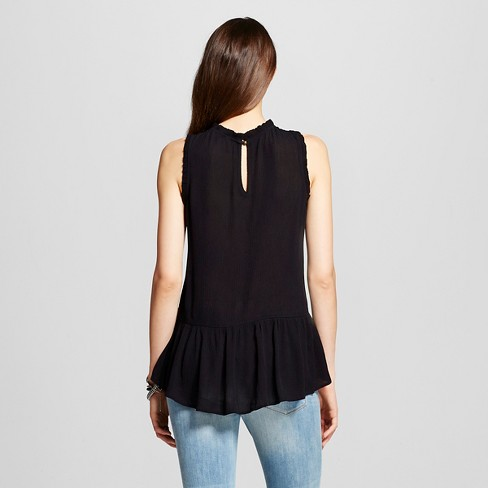 887c0c22f8773 Women s Embroidered Drop-waist Gauze Tank Top Black - Xhilaration™  (Juniors )   Target