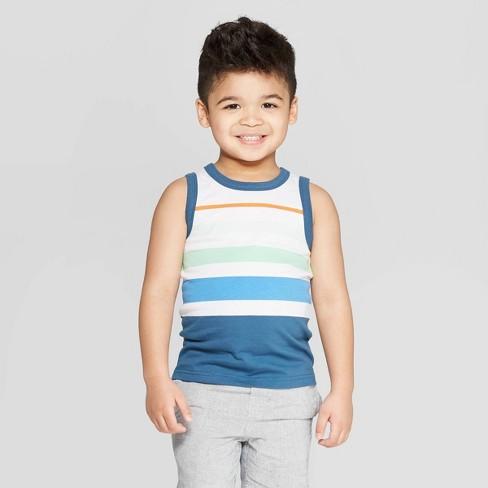 Toddler Boys' Jersey Multi Stripe Tank - Cat & Jack™ White/Blue - image 1 of 6