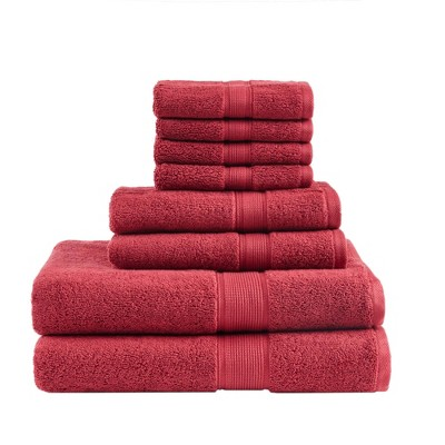 8pc Solid Cotton Bath Towel Set Red
