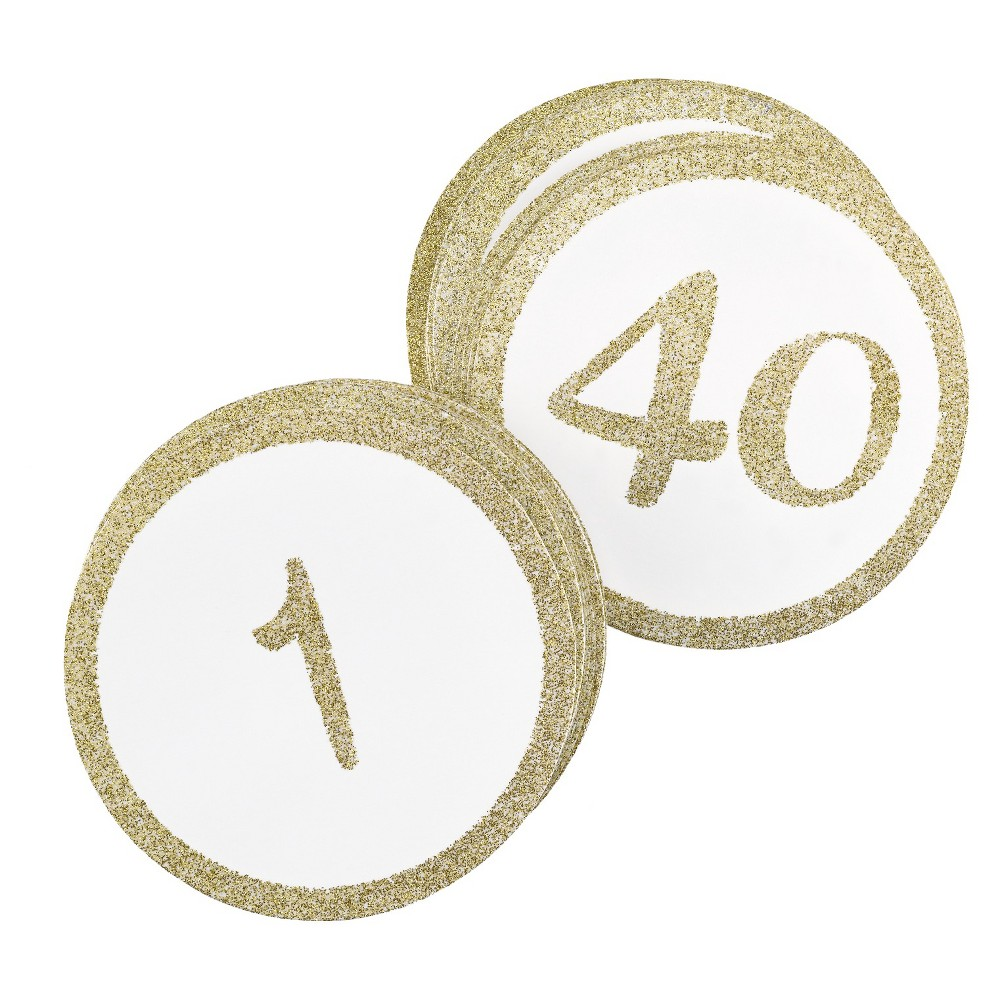 """Image of """"40ct """"""""1-40"""""""" Table Number Cards Gold Glitter"""""""