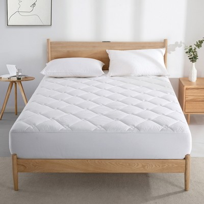 Puredown White  300 Thread Count  Rhombic Quilted Down Alternative Mattress Pad