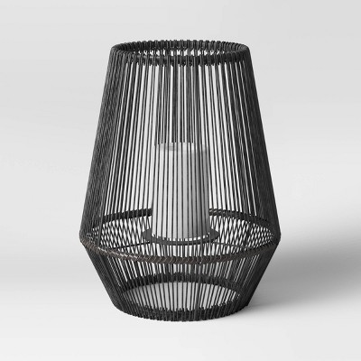 "12"" Small Plastic Woven Outdoor Lantern Gray - Project 62™"