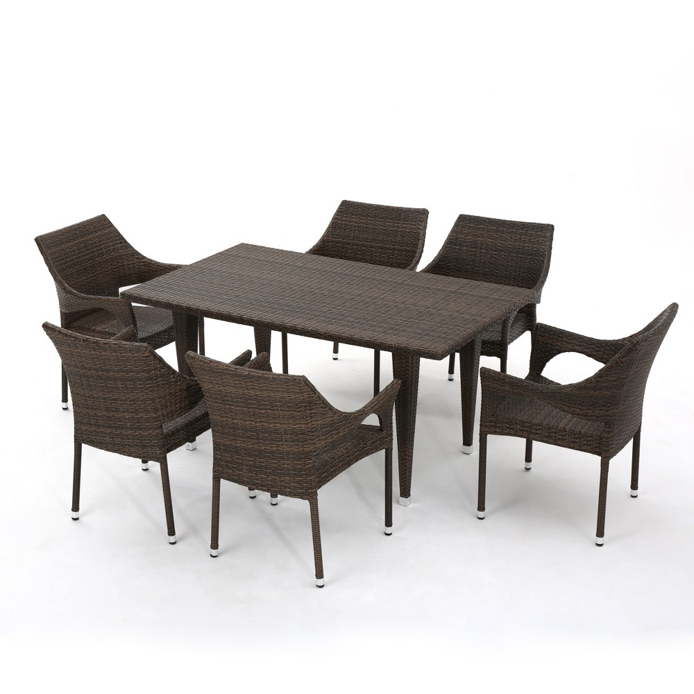 Cliff 7pc Wicker Patio Dining Set - Mixed Mocha (Brown) - Christopher Knight Home