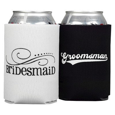 Bridesmaid And Groomsman Can Coolers - Black/White