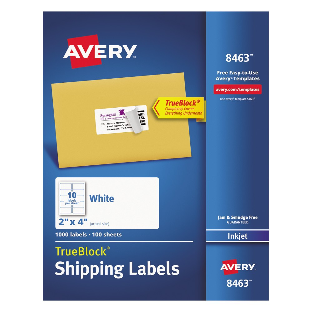 Avery 08463, Shipping Labels with Ultrahold Ad & TrueBlock, Inkjet, 2 x 4, White, 1000/Box