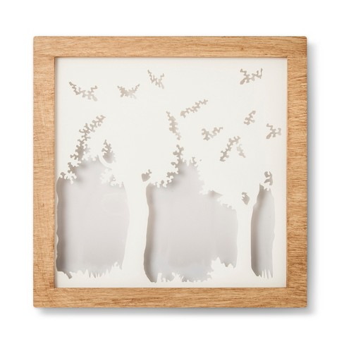 Wood Frame LED Box Light Nature - Cloud Island™ Natural/White : Target