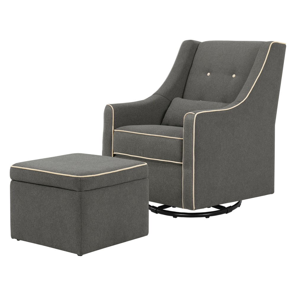 Image of DaVinci Owen Glider and Storage Ottoman - Dark Gray with Cream Piping, Dark Gray/Ivory