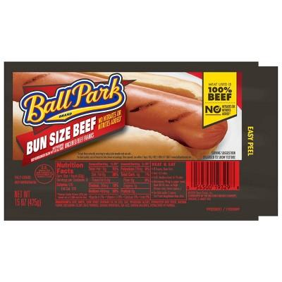 Ball Park Bun Size Uncured Beef Franks - 15oz/8ct