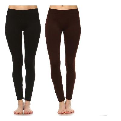 Women's Pack of 2 Solid Leggings - White Mark