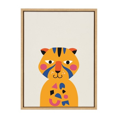 "18"" x 24"" Sylvie Mid Century Modern Baby Tiger Framed Canvas Wall Art by Rachel Lee Natural - Kate and Laurel"