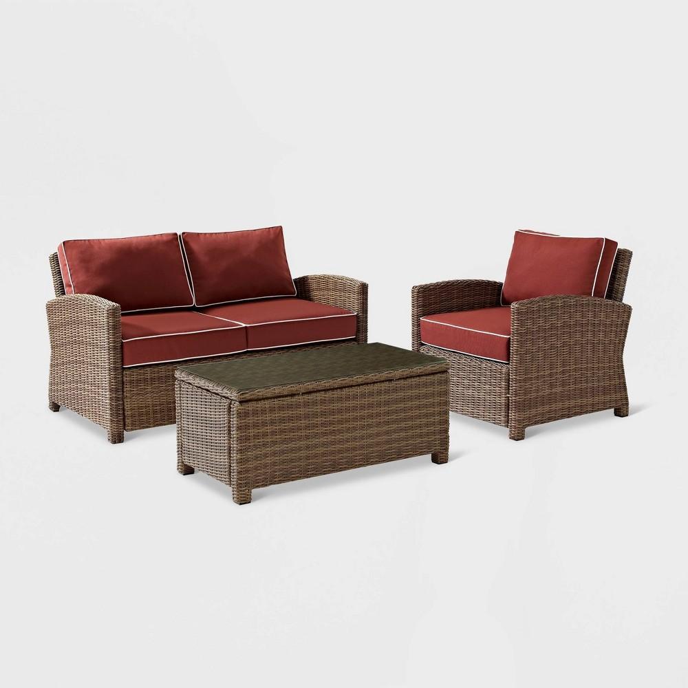 Bradenton 3pc Wicker Outdoor Patio Seating Set - Maroon/Brown (Red/Brown) - Crosley