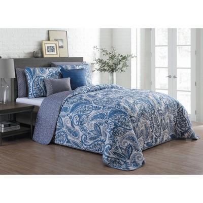 Geneva Home Fashion Queen 7pc Avondale Manor Seville Paisley Quilt & Sham Set Blue
