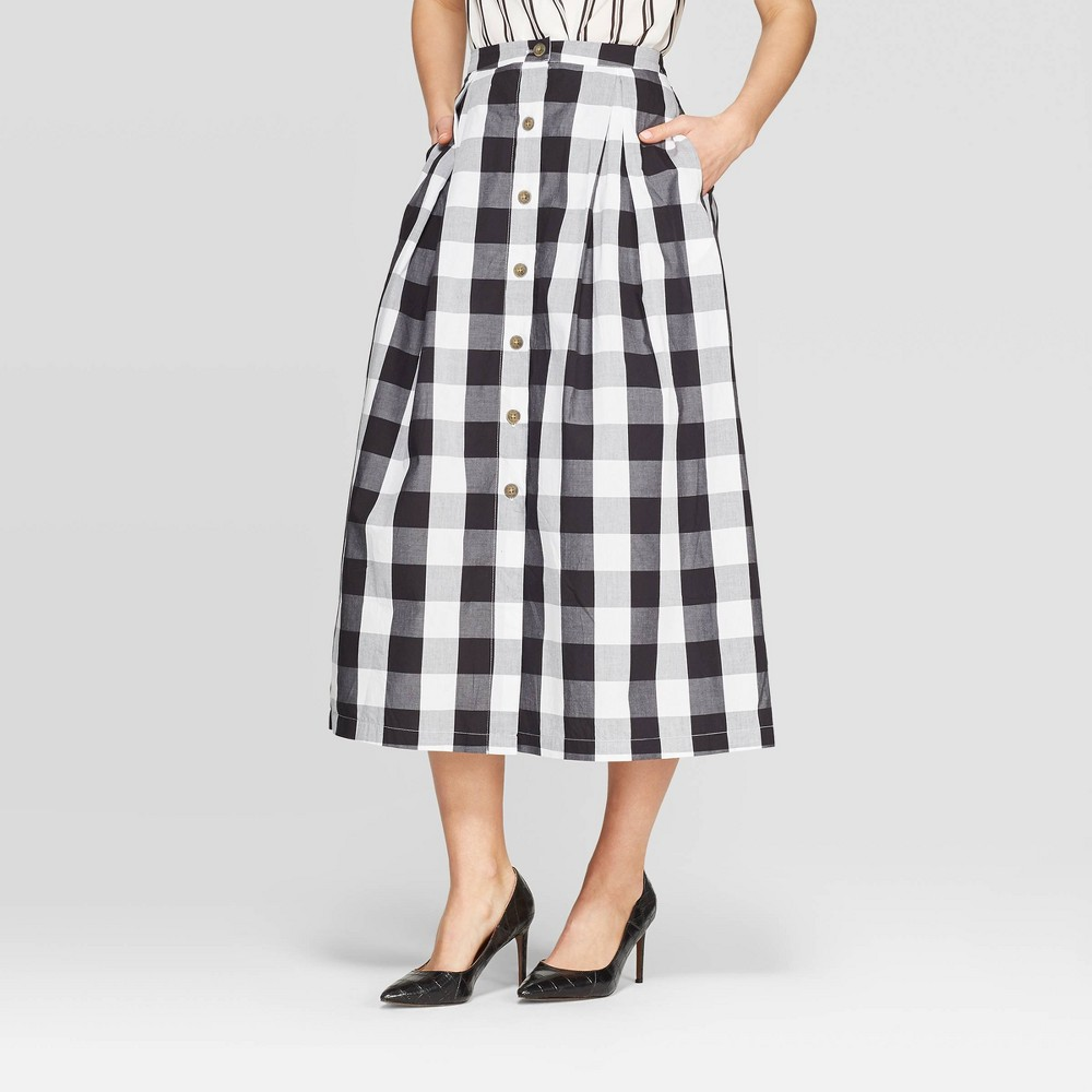 1920s Skirts, Gatsby Skirts, Vintage Pleated Skirts Womens Plaid Button Front A-Line Midi Skirt - Who What Wear BlackWhite 10 $29.99 AT vintagedancer.com