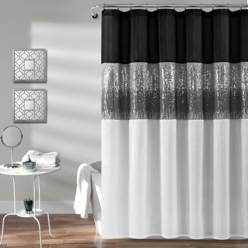 Night Sky Shower Curtain Black/White - Lush Decor