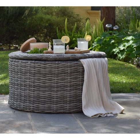 Vallauris Wicker Outdoor Storage Coffee Table Gray Adore Decor Target