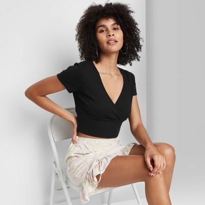Women's Short Sleeve V-Neck Wrap T-Shirt - Wild Fable™