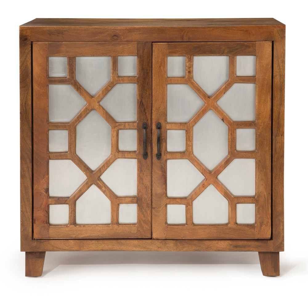 Savannah Accent Cabinet Mango Wood with Iron Sheet Accent - Steve Silver