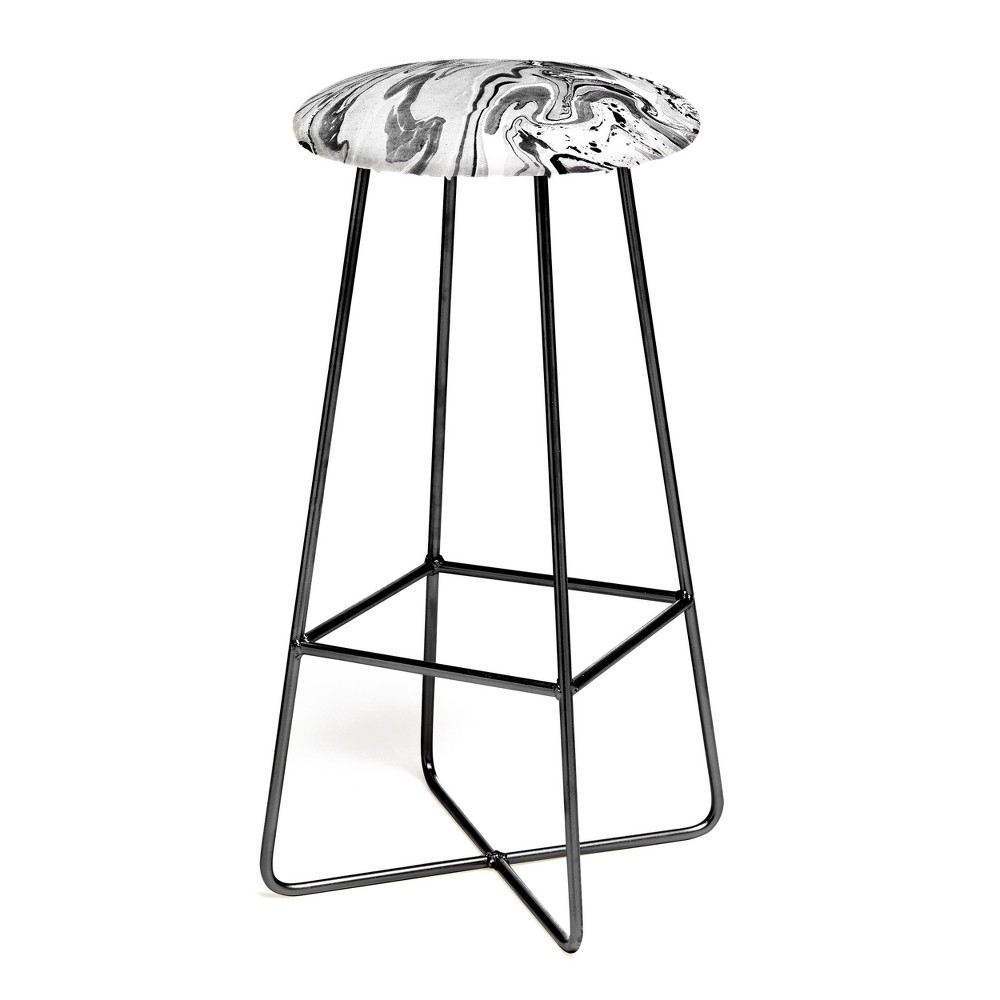 Image of Amy Sia Marble Monochrome Black Bar Stool - Deny Designs, Black and White