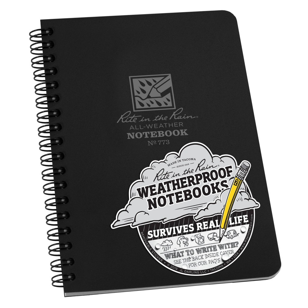 Image of 1 Subject Special Rule All Weather Spiral Notebook Black - Rite in the Rain