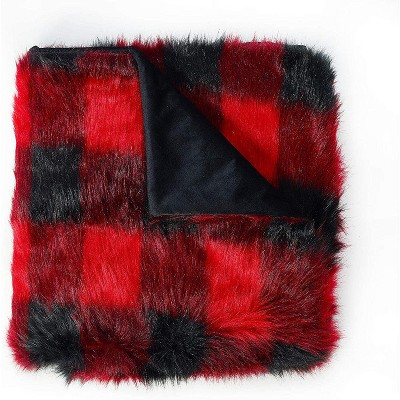 DE MOOCCI Buffalo Plaid Fuzzy Faux Fur Throw Blanket