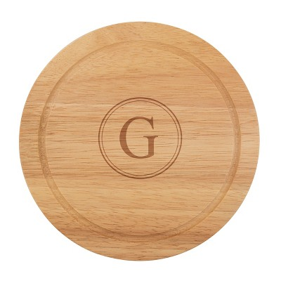 Cathy's Concepts Monogram Acacia Wood 5pc Serving Tray with Tool Set G
