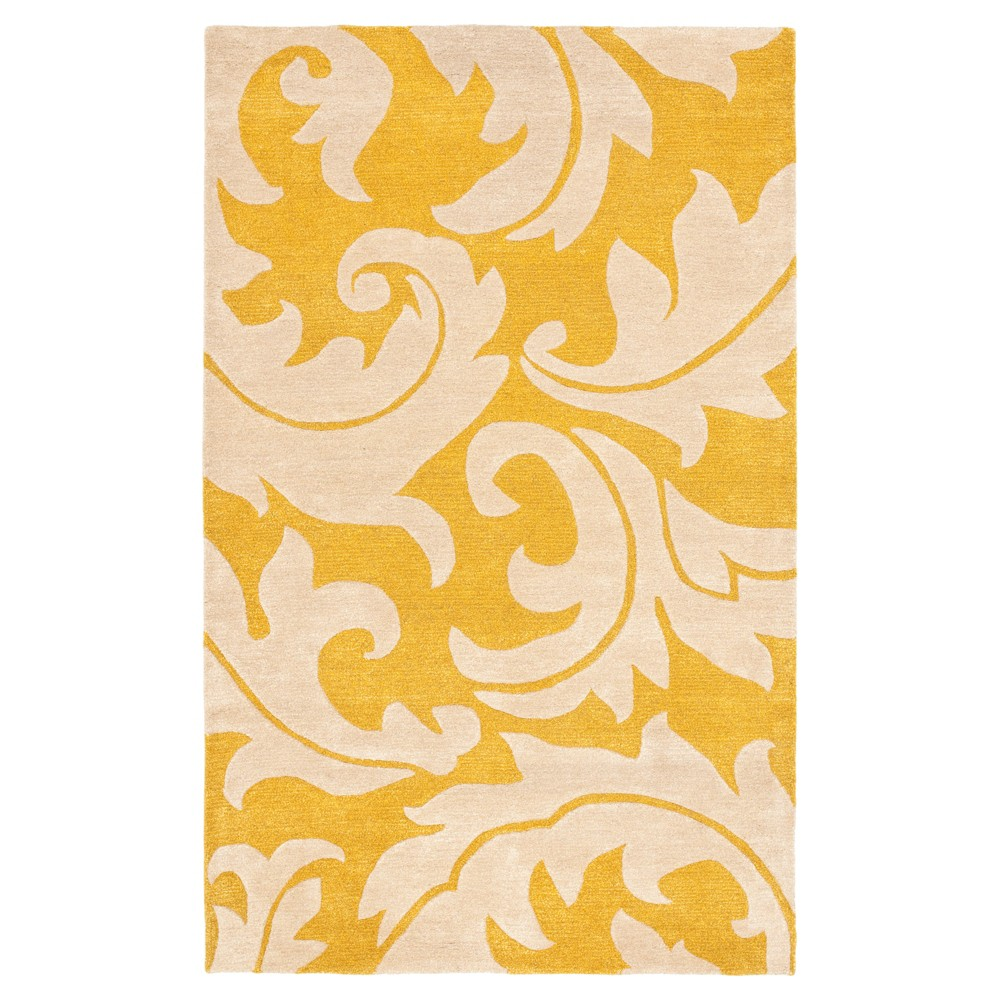 Gold/Ivory Botanical Loomed Accent Rug - (3'6