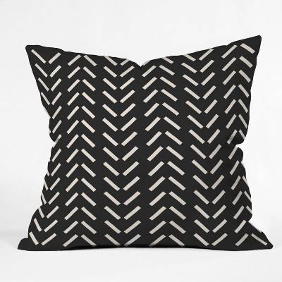 "16""x16"" Nick Quintero Herringbone Throw Pillow Black/White - Deny Designs"