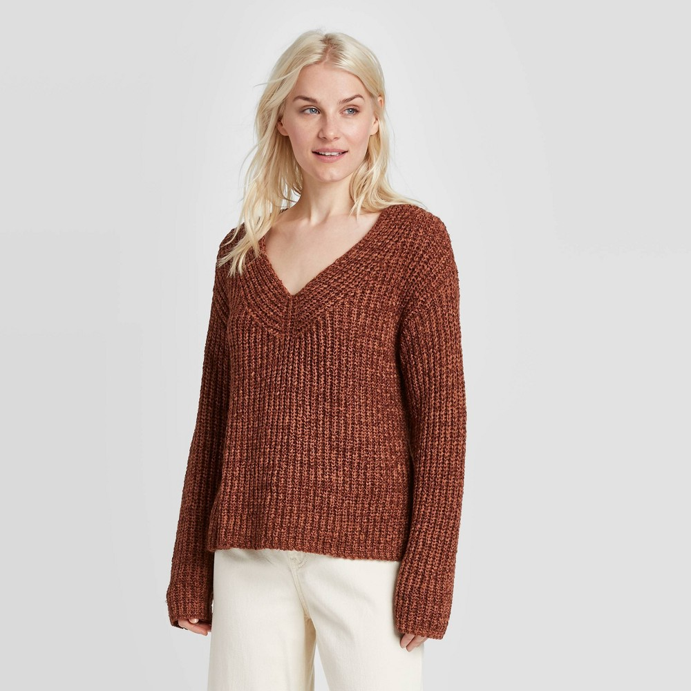 Women's V-Neck Pullover Sweater - A New Day Brown XS, Women's was $29.99 now $20.99 (30.0% off)