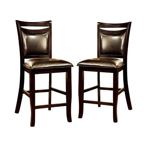 Set of 2 BurtonLeatherette Padded Curved Back Counter Side Chair Espresso - miBasics - image 1 of 3