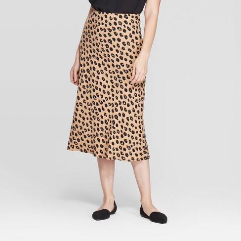 Women's Leopard Print Mid-Rise Midi Slip Skirt - A New Day™ Light Brown - image 1 of 3