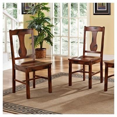 Distressed Dark Oak Wood Dining Kitchen Chairs, Set of 2 - Saracina Home, Dark Brown