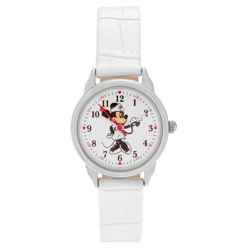 Women's Disney Minnie Mouse Dial Round Face Faux Leather Strap Watch - White - image 1 of 3